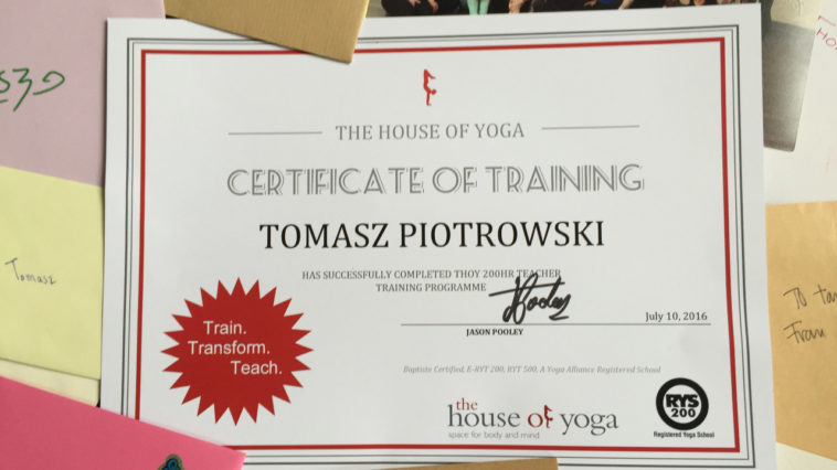 Becoming yoga teacher: THoY certificate